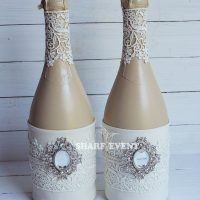 как украсить свадебные бутылки самостоятельно